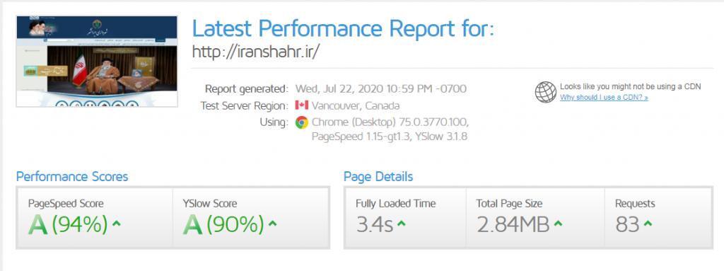 رتبه بندی شهرداری ایرانشهر در gtmetrix