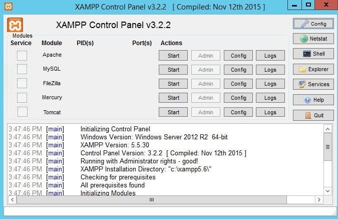 تصویری از صفحه اصلی نرم افزار PXAMP
